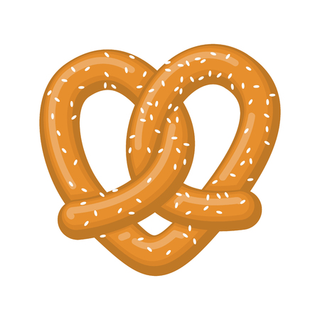 Love pretzel. snack heart. Food lover sign. Traditional German meal Vectores