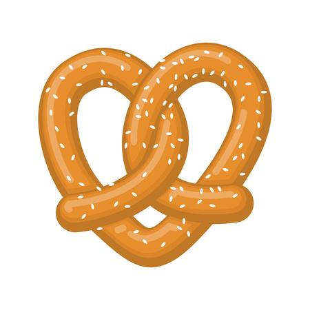 Love pretzel. snack heart. Food lover sign. Traditional German meal Иллюстрация