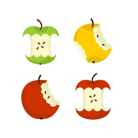 Apple core set. Fruit trash. Rubbish on white background. garbage