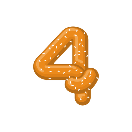 Number 4 pretzel. snack font four symbol. Food alphabet sign. Traditional German meal is ABC. Bake numeric