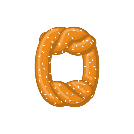 Letter O pretzel. snack font symbol. Food alphabet sign. Traditional German meal is ABC. Bake Ilustração