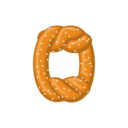 Letter O pretzel. snack font symbol. Food alphabet sign. Traditional German meal is ABC. Bake