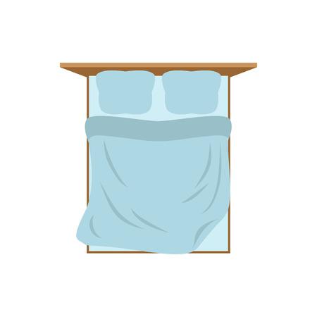 Lege bed bovenaanzicht geïsoleerd. Kussen en deken. Verscholen tweepersoonsbed op witte achtergrond