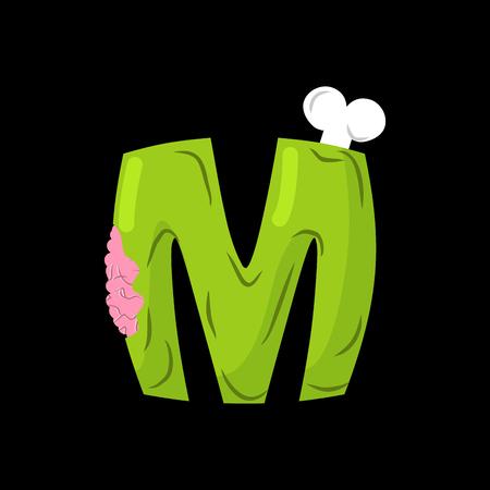 Letter M zombie font. Monster alphabet. Bones and brains lettering. Green Terrible ABC sign Illustration