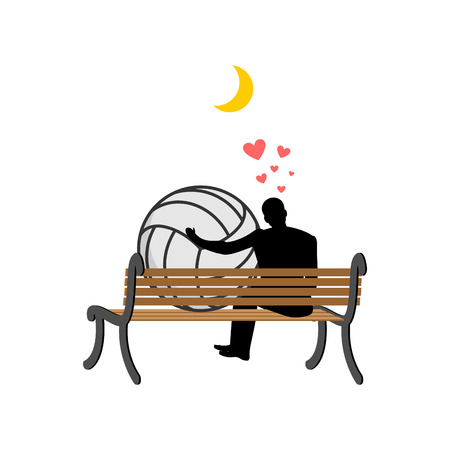 Lover volleyball. Guy and ball sitting on bench. Romantic date. Love sport play game