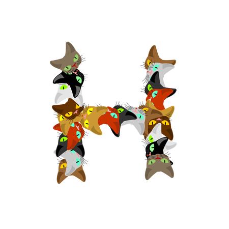 letter H Cat font. Pet alphabet symbol. home animal ABC sign