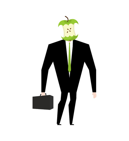 apple core: Businessman apple core. Dumb boss. Silly manager garbage Illustration
