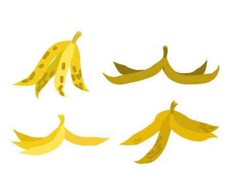 Peel banana set trash. Garbage white background