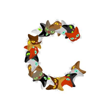 siamese: letter C Cat font. Pet alphabet symbol. home animal ABC sign Illustration