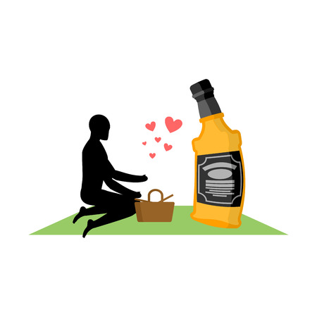 bourbon: Lover alcohol drink. Man and bottle of whiskey on picnic. blanket and basket for food on lawn. Romantic date. Alcoholic Lifestyle