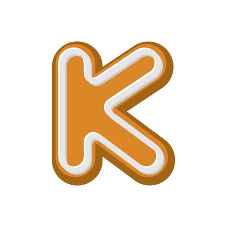 Letter K Gingerbread. Peppermint honey-cake font. Cookies alphabet. Lettering biscuit
