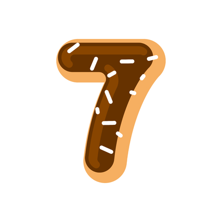 Number 7 donut. Doughnut font seven. Sweet alphabet. candy lettering. food ABC sign