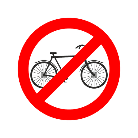 ring road: Stop cyclist. bicycle on red ring. Road sign ban bicyclist Illustration