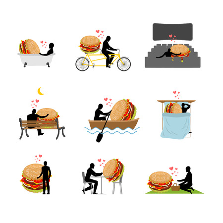 lover fast food. set. Man and hamburger  in movie theater. Lovers in bath. Romantic rendezvous. boat. person sitting on bench. Joint walk. Cycling tandem. Breakfast in cafe. Picnic in park. sleeping in bed. Glutton Lifestyle Illustration