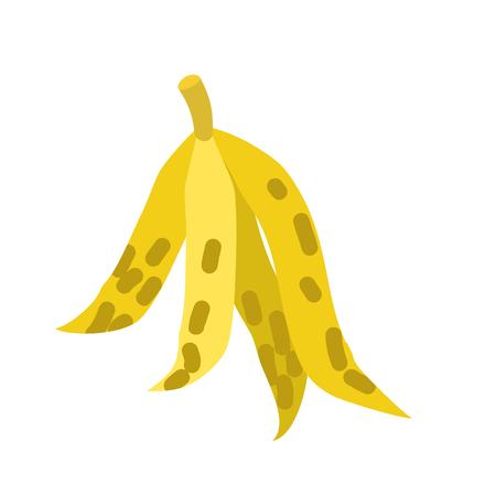 Peel banana isolated trash. Garbage white background