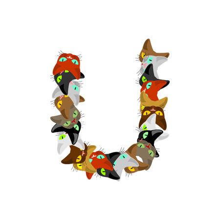 letter U Cat font. Pet alphabet symbol. home animal ABC sign Illustration