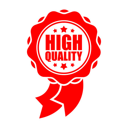Quality sign template. Red ribbon symbol. Rubber Seal