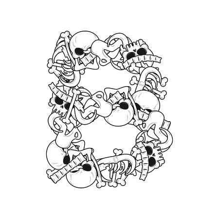 word of mouth: Letter B skeleton Bones Font. Anatomy of an alphabet symbol. dead ABC sign