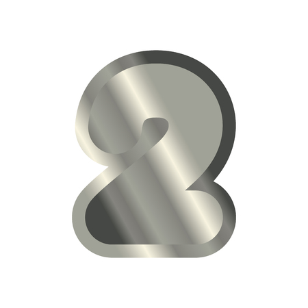 Number 2 steel. Metal font two. Silver alphabet sign. Iron ABC symbol