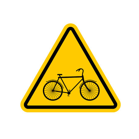secure brake: Attention cyclist. bicycle on yellow triangle. Road sign Caution bicyclist Illustration