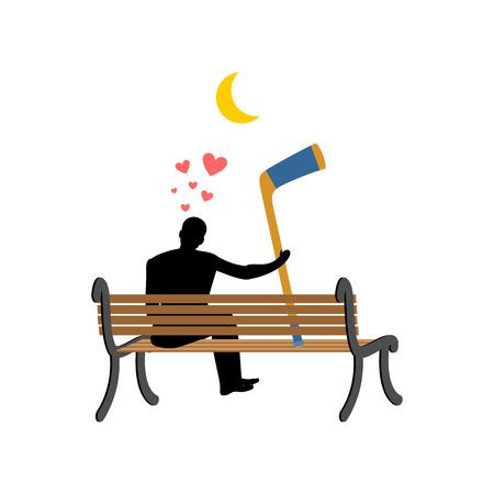 Lover hockey. Man and hockey stick sitting on bench. Romantic date. I love sports