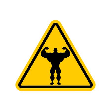 signo pesos: Attention bodybuilding. athlete on yellow triangle. Road sign Caution fitness