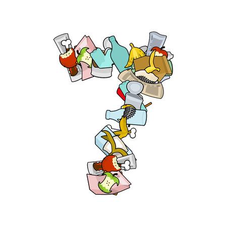 Number 7 Rubbish. Trash font seven sign. garbage alphabet symbol. Lettering litter Illustration