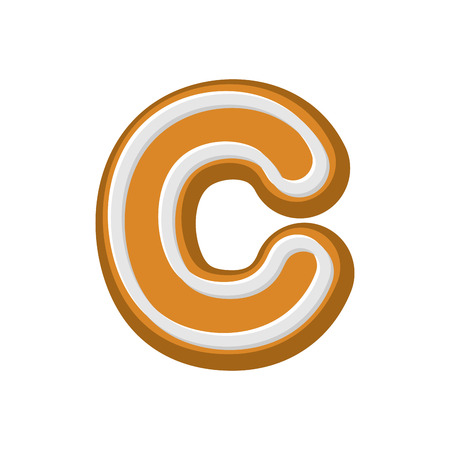 Letter C Gingerbread. Peppermint honey-cake font. Cookies alphabet. Lettering biscuit