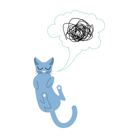 Sleeping cat isolated. Pet sleeps on his back Illustration