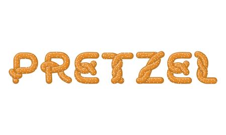Pretzel lettering. Bake snack font. Traditional German meal alphabet