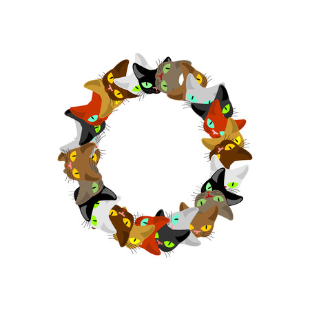 letter O Cat font. Pet alphabet symbol. home animal ABC sign