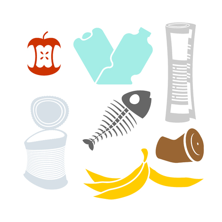 Garbage set. Rubbish icon collection. trash sign. litter symbol. peel from banana and stub. Tin and old newspaper. Bone and packaging. Crumpled paper and plastic bottle 일러스트