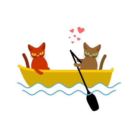 Cat lovers ride in boat. Lover of sailing. Pet Romantic date. Cats lifestyle Illustration