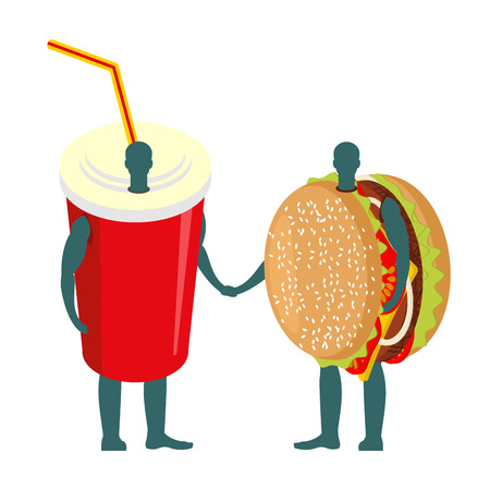 cartoon tomato: Fast food friends. Drink and hamburger. beverage  in red cup and burger to hold hands