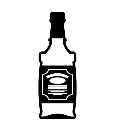 Bottle of whiskey. Bourbon isolated. Tequila on white background