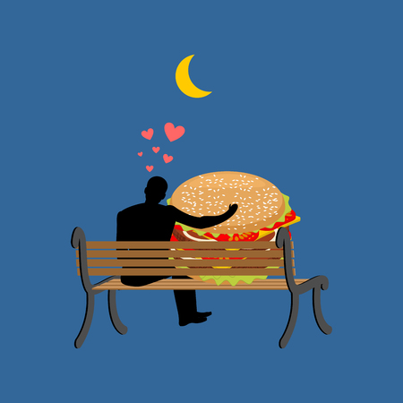 lover fast food. Man and hamburger sitting on bench. Guy and Burger. Romantic date fastfood. Glutton Lifestyle Vectores