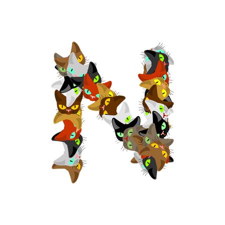 siamese: letter N Cat font. Pet alphabet symbol. home animal ABC sign