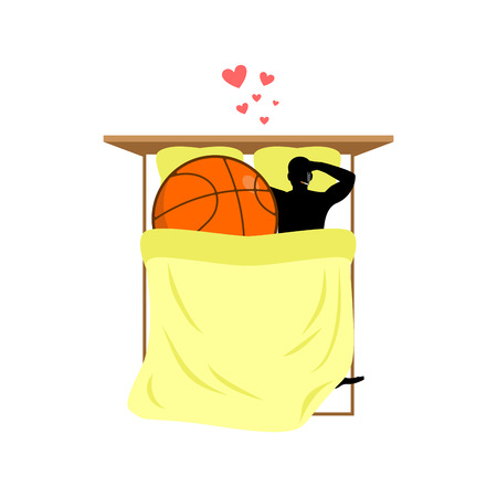 sexual activity: Lover Basketball. Guy and ball in bed. Lovers in Bedroom. Romantic date. Love sport play game Illustration