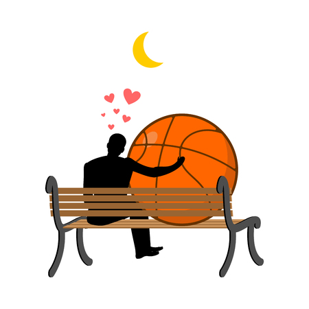 Lover Basketball. Guy and ball sitting on bench. Romantic date. Love sport play game Illustration