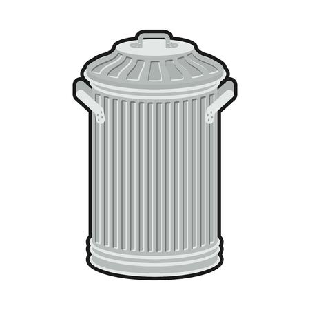 Trash can isolated. Wheelie bin on white background. Dumpster iron. Illustration