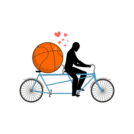 Lover basketball. Guy and ball on tandem. Lovers of cycling. Man rolls  bicycle. Joint walk on street. Romantic date. Love sport play game