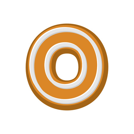 Letter O Gingerbread. Peppermint honey-cake font. Cookies alphabet. Lettering biscuit