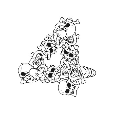 Number 4 skeleton. Bones Font four. Anatomy of an alphabet symbol. dead ABC sign