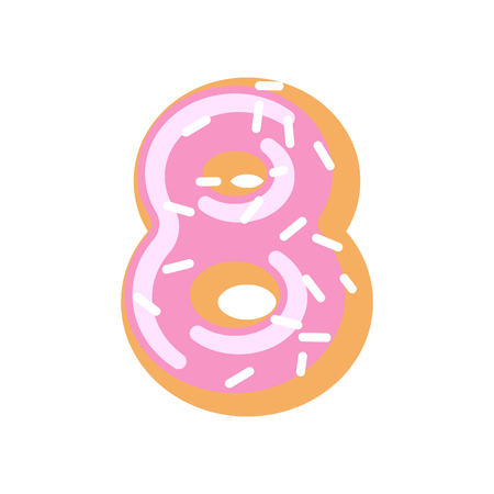 Number 8 donut. Doughnut font. Sweet alphabet. candy lettering. food ABC sign