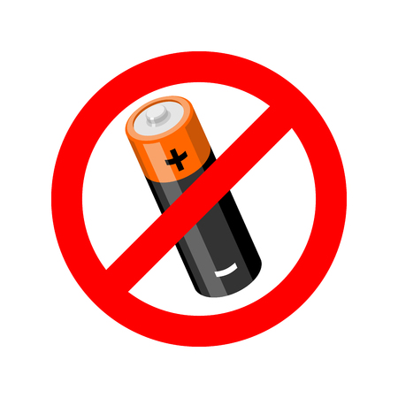 electrochemical: Stop battery. Prohibited accumulator road sign. Ban icon