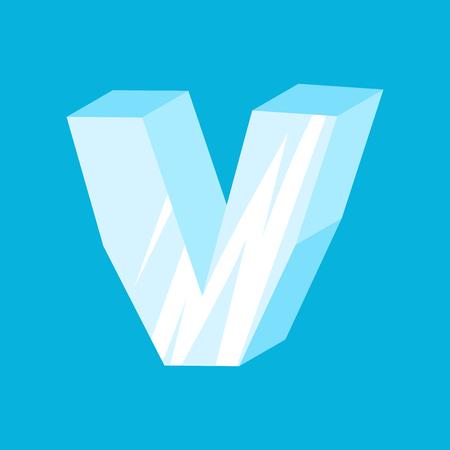 letter V ice font. Icicles alphabet. Frozen lettering. Iceberg ABC sign Illustration