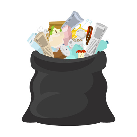 Black garbage bag open. sack Rubbish. sackful trash. litter. peel from banana and stub. Tin and old newspaper. Bone and packaging. Crumpled paper and plastic bottle