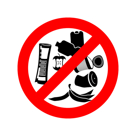 Deje de tirar basura. Prohibir la basura. Está prohibido camada. señal de tráfico círculo rojo. Ilustración de vector
