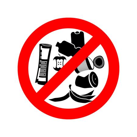 basura: Deje de tirar basura. Prohibir la basura. Está prohibido camada. señal de tráfico círculo rojo.
