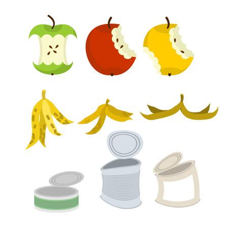 Rubbish set. Garbage collection. Apple core and peel of banana. Tin Illustration